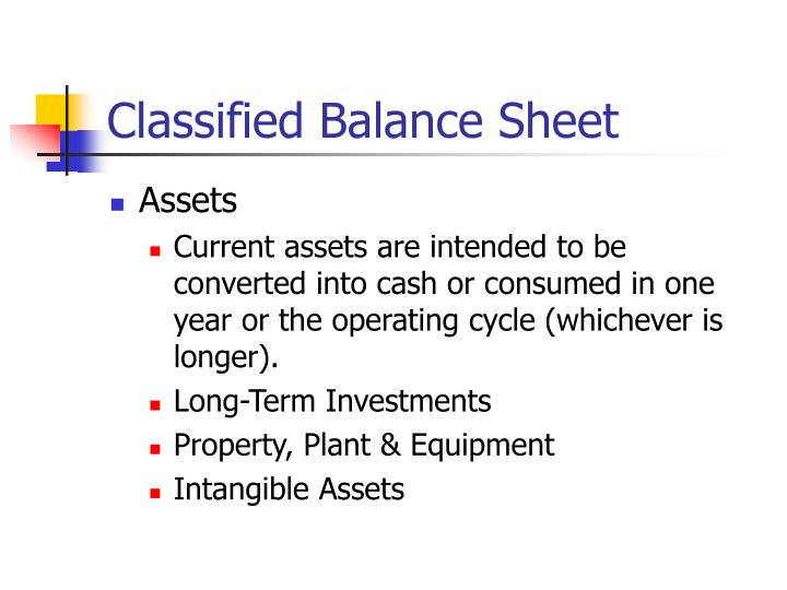 Classified Balance Sheet