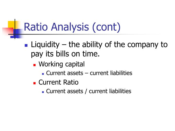 Ratio Analysis (cont)