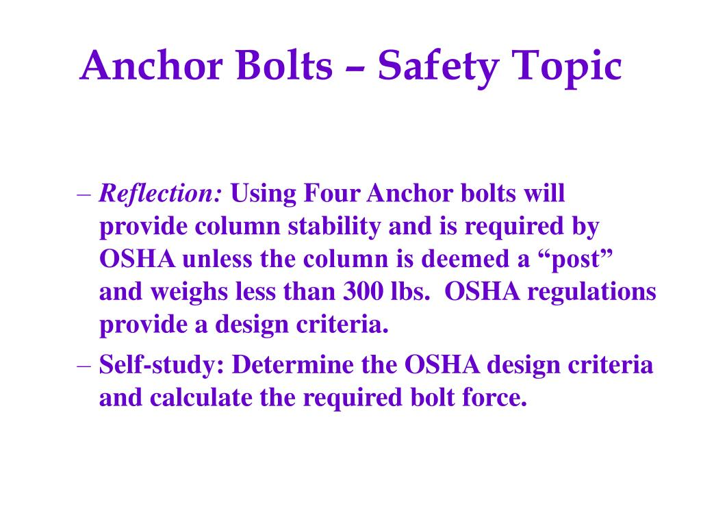 Anchor Bolts – Safety Topic
