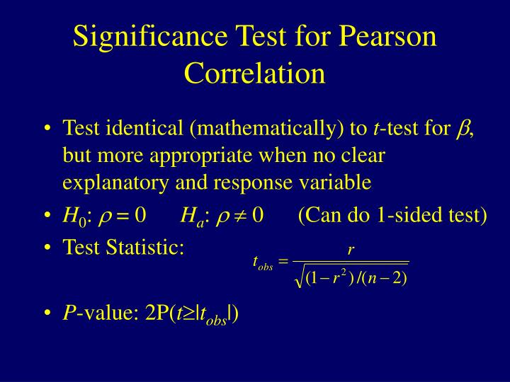 Significance Test for Pearson Correlation