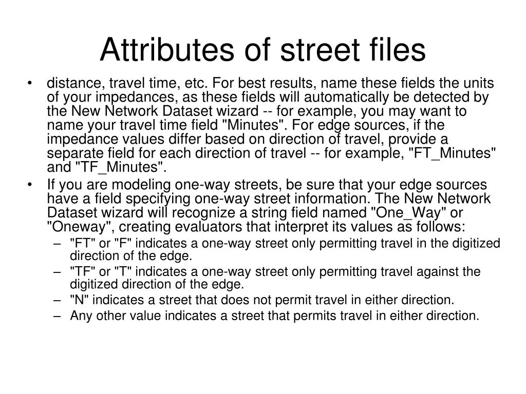Attributes of street files