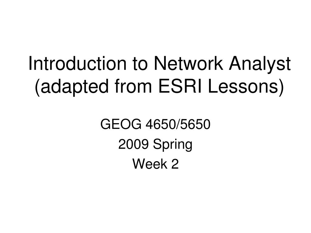 Introduction to Network Analyst