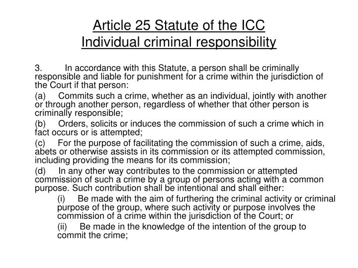 Article 25 Statute of the ICC
