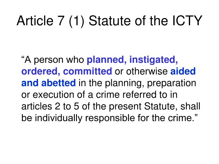 Article 7 (1) Statute of the ICTY