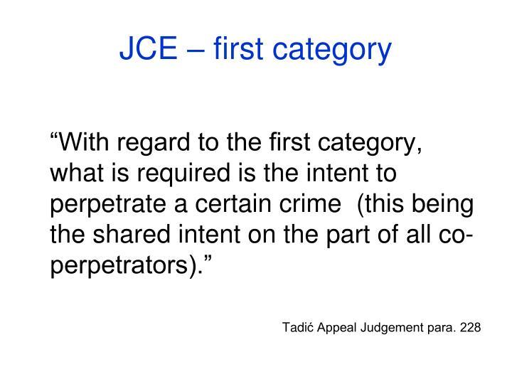 JCE – first category
