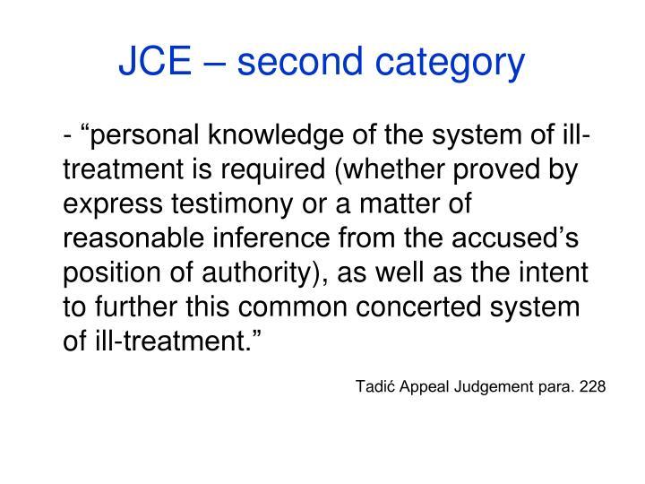 JCE – second category
