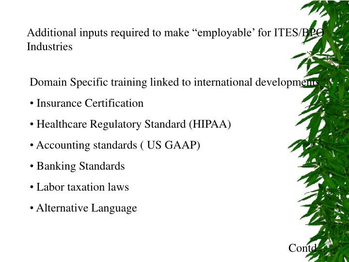 "Additional inputs required to make ""employable' for ITES/BPO Industries"