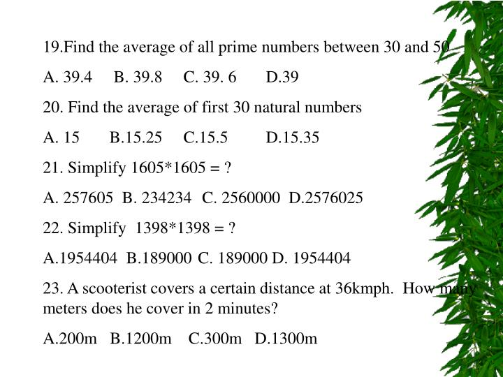 19.Find the average of all prime numbers between 30 and 50