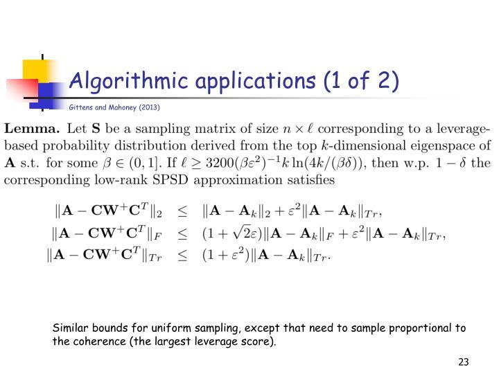 Algorithmic applications (1 of 2)