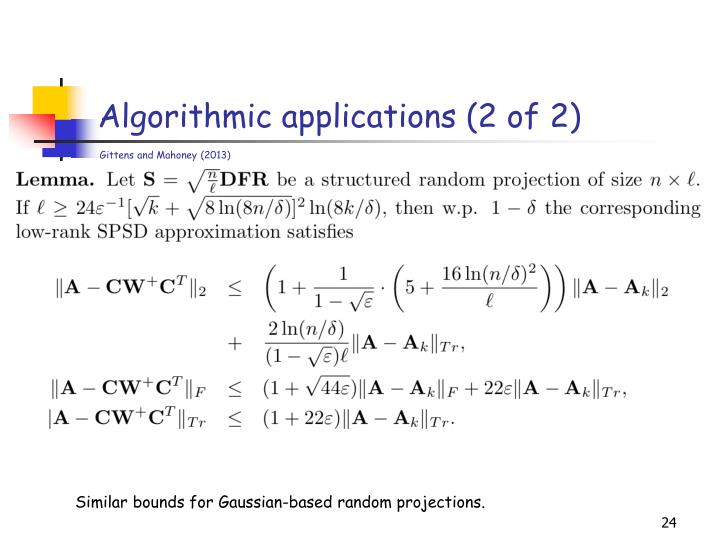 Algorithmic applications (2 of 2)