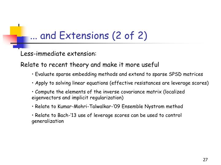 ... and Extensions (2 of 2)