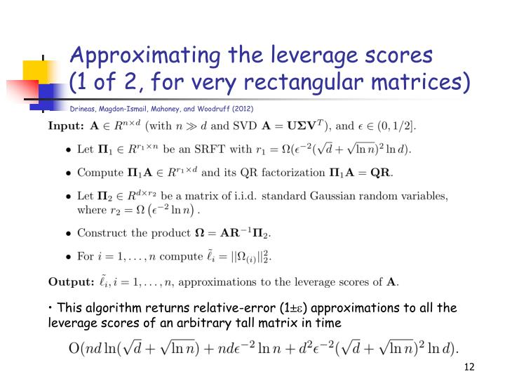 Approximating the leverage scores