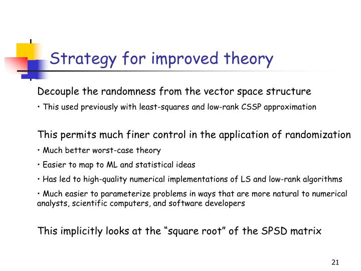 Strategy for improved theory