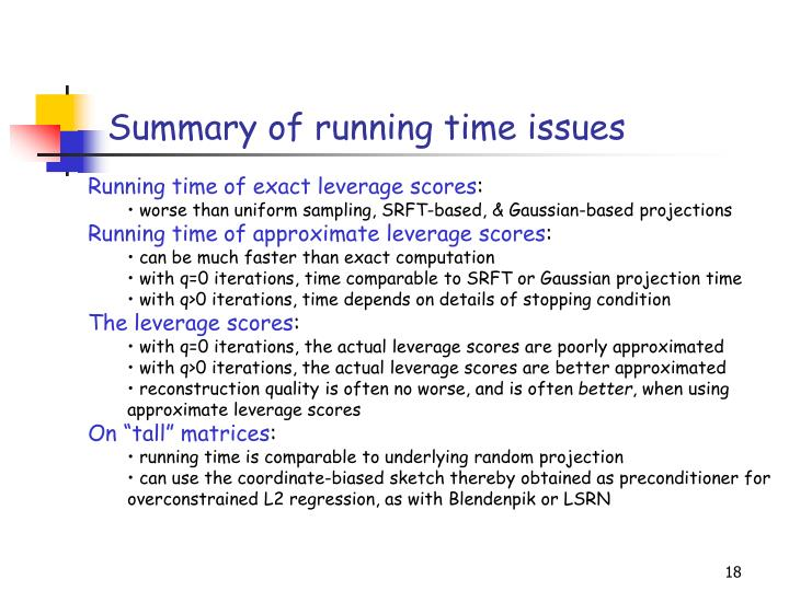 Summary of running time issues