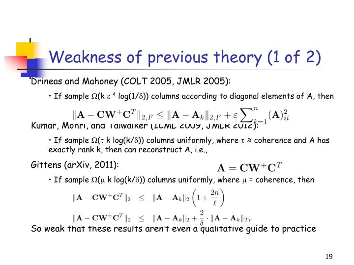 Weakness of previous theory (1 of 2)
