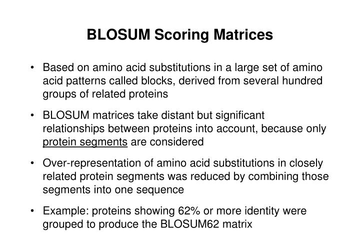 BLOSUM Scoring Matrices
