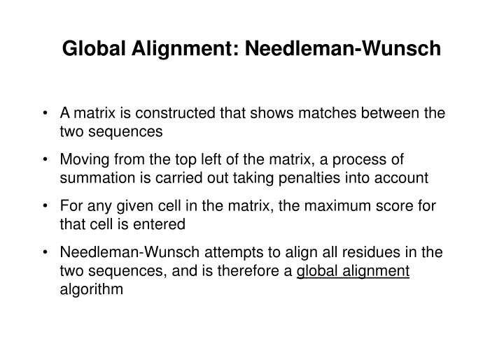 Global Alignment: Needleman-Wunsch