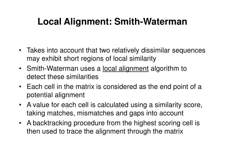 Local Alignment: Smith-Waterman