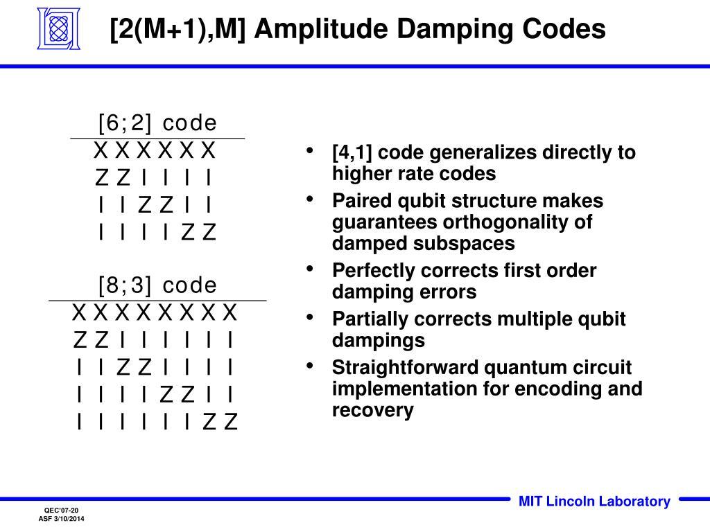 [2(M+1),M] Amplitude Damping Codes