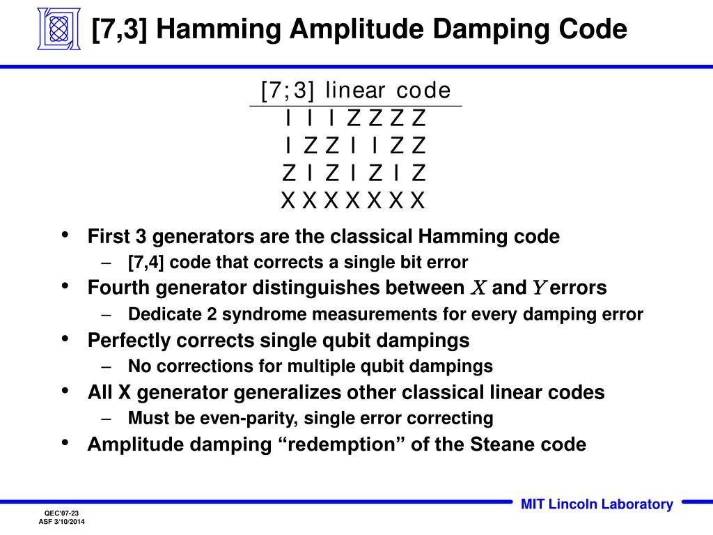 [7,3] Hamming Amplitude Damping Code