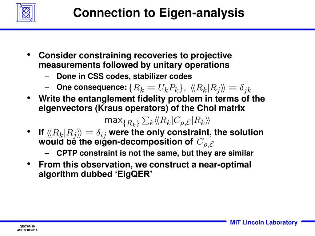 Connection to Eigen-analysis