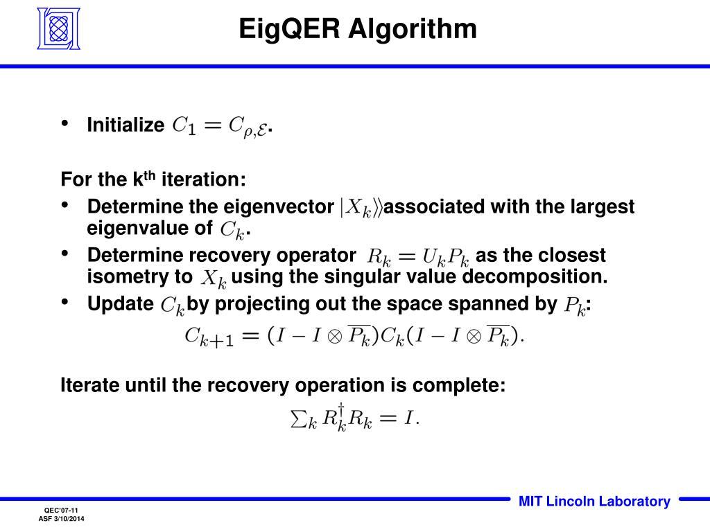 EigQER Algorithm