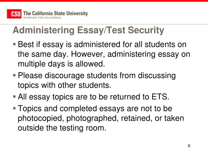 Administering Essay/Test Security