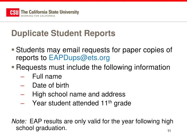 Duplicate Student Reports