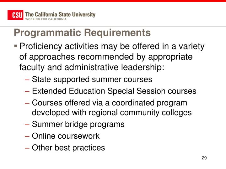 Programmatic Requirements