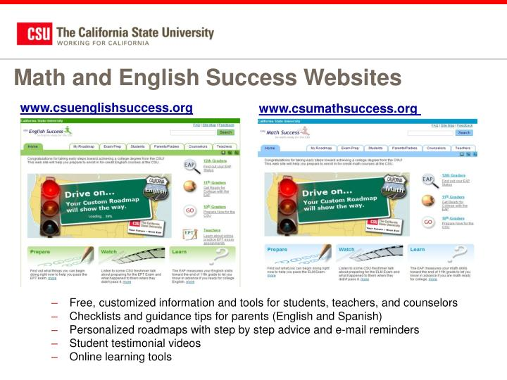 Math and English Success Websites