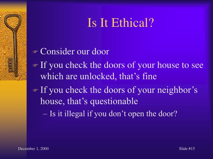 Is It Ethical?