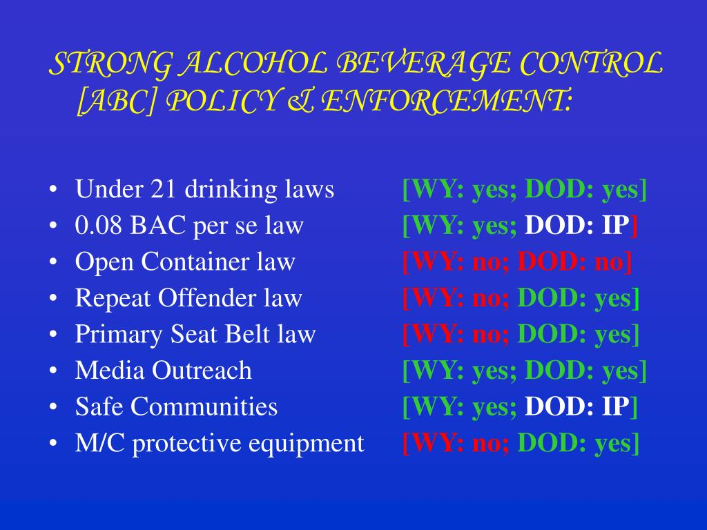 STRONG ALCOHOL BEVERAGE CONTROL [ABC] POLICY & ENFORCEMENT: