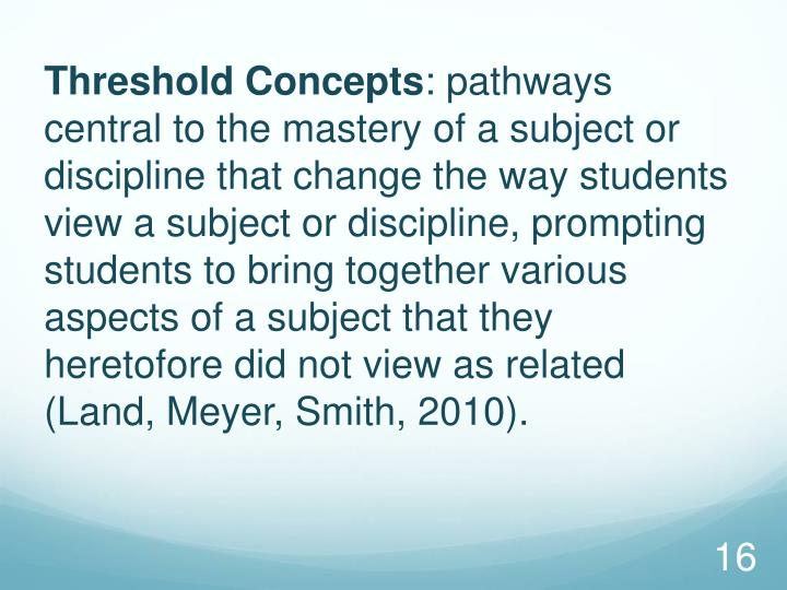 Threshold Concepts