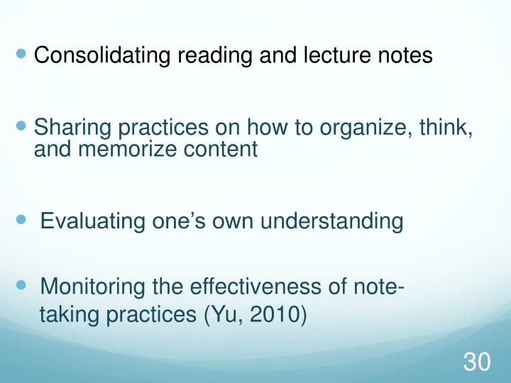 Consolidating reading and lecture