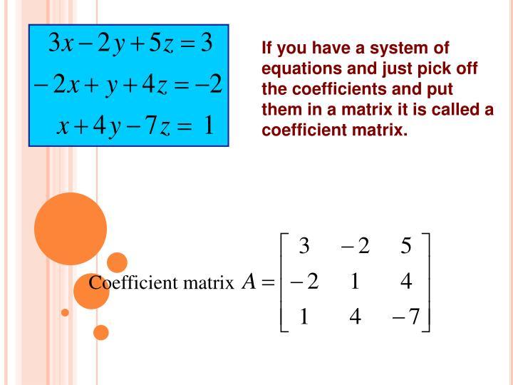 Coefficient matrix