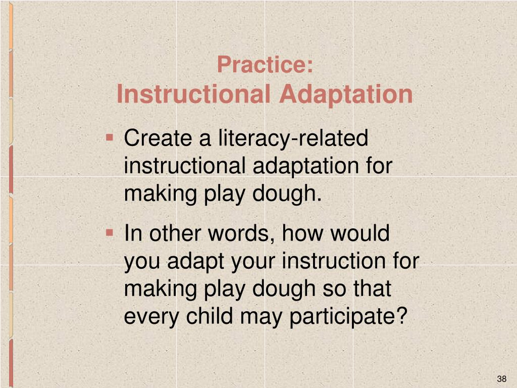 Create a literacy-related instructional adaptation for making play dough.