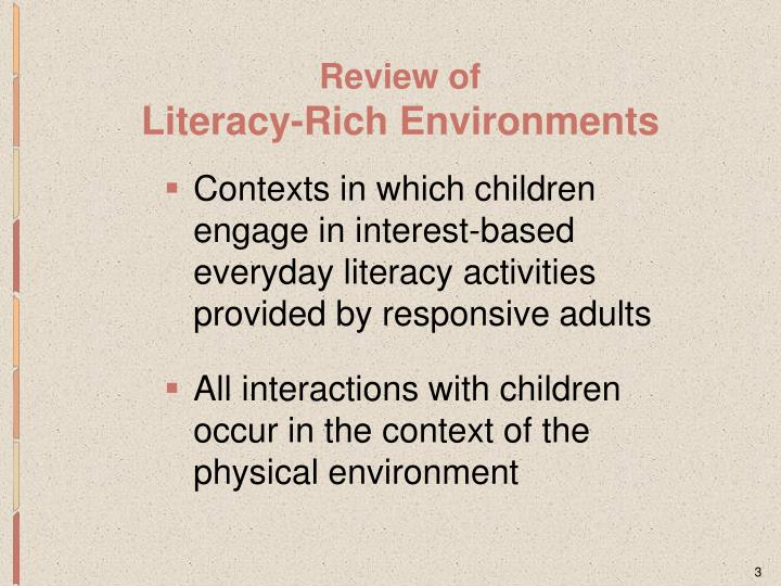 Review of literacy rich environments