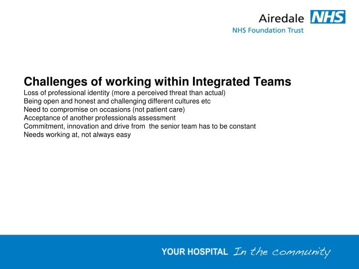 Challenges of working within Integrated Teams