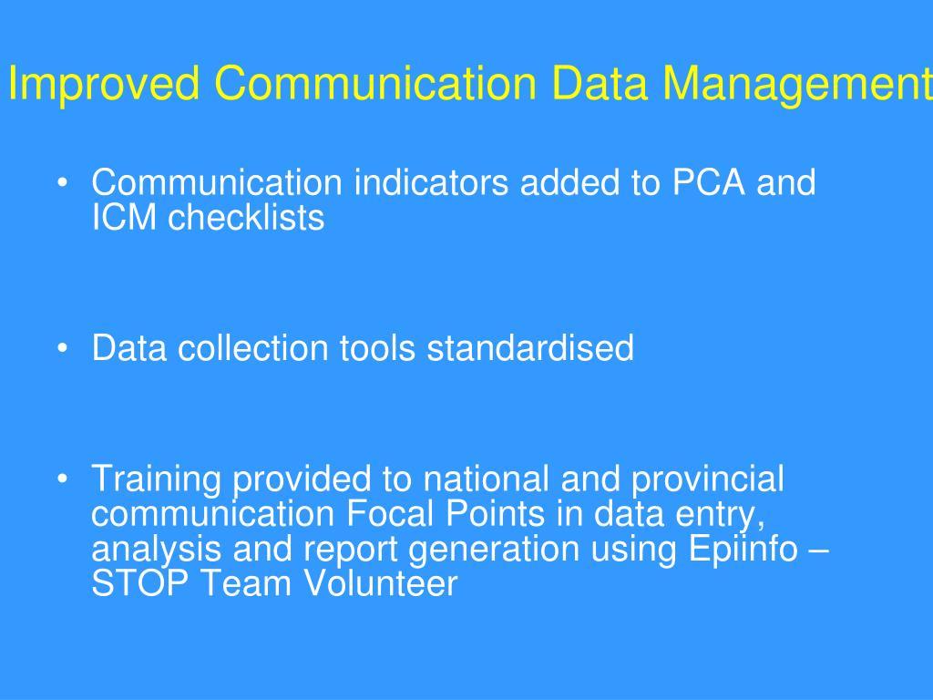Improved Communication Data Management