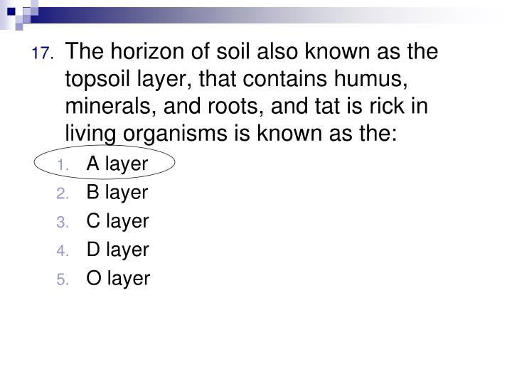 The horizon of soil also known as the topsoil layer, that contains humus, minerals, and roots, and tat is rick in living organisms is known as the: