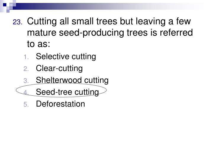 Cutting all small trees but leaving a few mature seed-producing trees is referred to as: