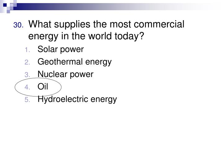 What supplies the most commercial energy in the world today?