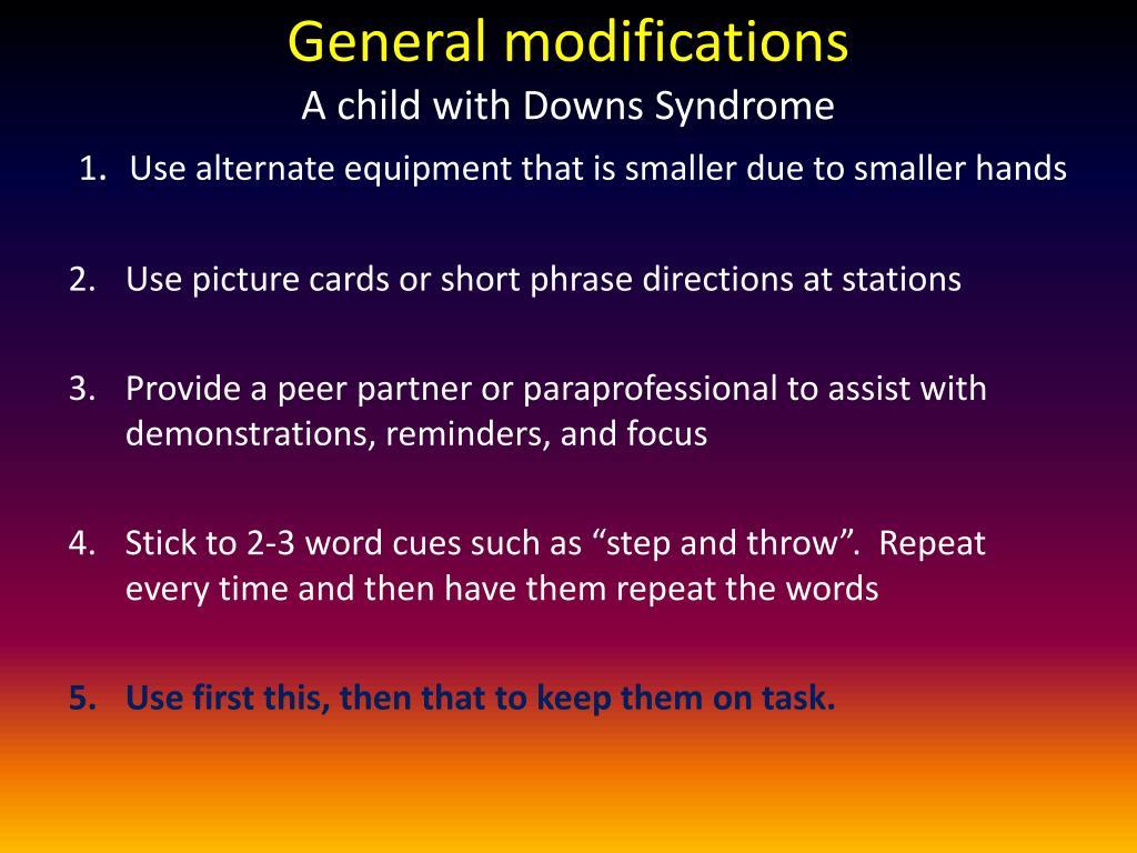 General modifications