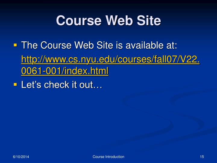 Course Web Site