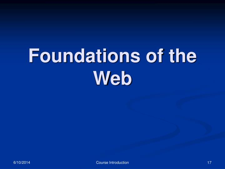 Foundations of the Web