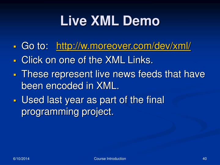 Live XML Demo
