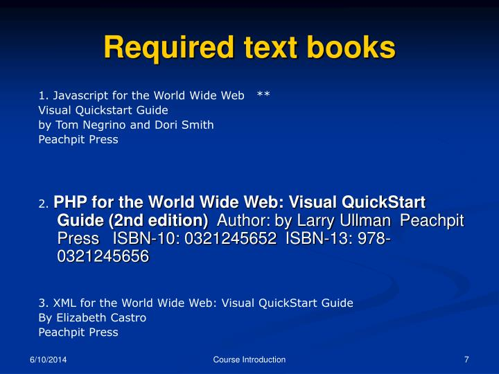 Required text books