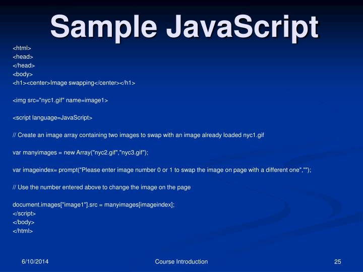 Sample JavaScript