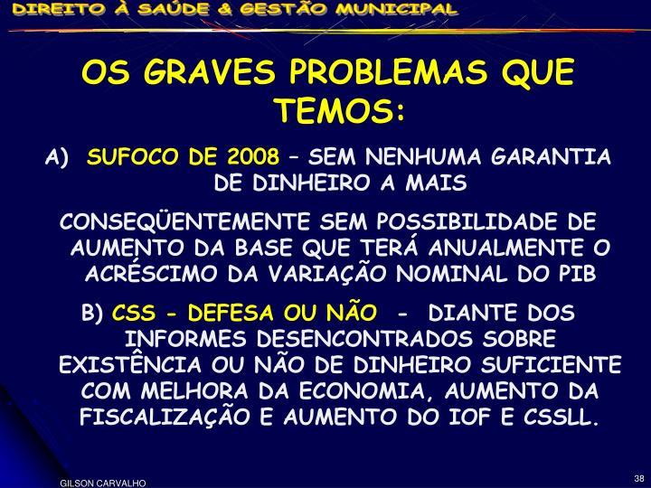 OS GRAVES PROBLEMAS QUE TEMOS: