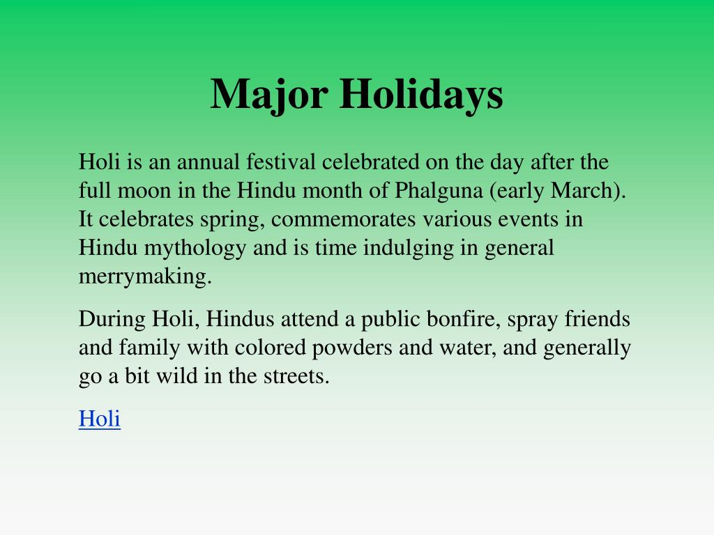 Major Holidays